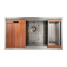 "ZLINE Designer 33"" Undermount Single Bowl Ledge Sink, Stainless Steel, SLS-33"