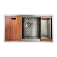 "ZLINE Designer 33"" Undermount Single Bowl Ledge Sink, Stainless Steel"