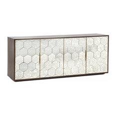 Honeycomb Walnut Antique Mirrored Buffet Sideboard