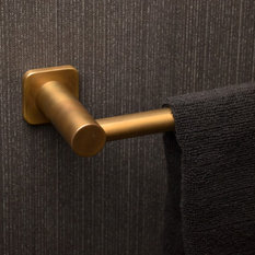 - Faucet Strommen, Zeos Towel Rail in Antique Brass Light - Towel Rails