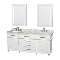 """Wyndham Collection Double Bathroom Vanity With Medicine Cabinets, White, 72"""""""