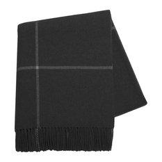 Windowpane Cashmere Throw, Black