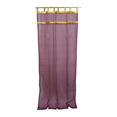 2 Indian Curtain Sheer Purple Organza Golden Sari Border Window Treatment, 48x10