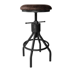 Paris Adjustable Backless Barstool, Silver Brushed Gray With Brown Fabric Seat