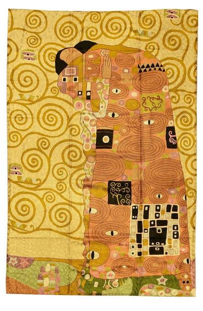 Klimt Kiss Silk Modern Abstract Rug / Wall Art Hand Embroidered 4ft ...