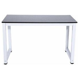 Modern Stylish Desk, Steel Metal Frame and MDF Top, Black