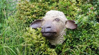 Moutons Céramiques de Jardin