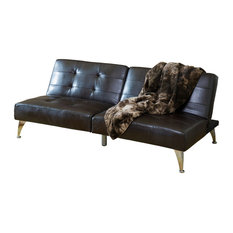 GDFStudio   Lenny 2 Piece Leather Clik Clak Sofa Couch, Brown   Sofas