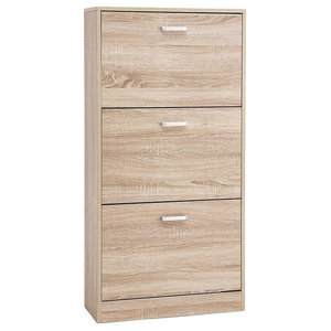Contemporary Shoes Storage Unit, Wood With Deep Compartments, Oak