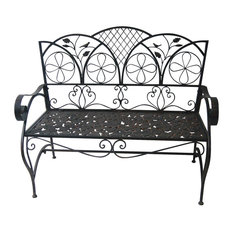 Iron Sun Leaves Garden Bench