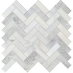 """Rocky Point Tile Co - Studio Marble Polished 1x3 Herringbone Mosaic Tiles - Bianco Macchiato -10 Sq Ft - You are purchasing 10 Square Feet of Studio Marble Polished 1"""" x 3"""" Herringbone Mosaic Tiles - Bianco Macchiato. The Studio Marble Series is stunning! It is primarily white in color with a variety of beautiful gray veining, a great addition to any project! Install this tile as the focal point of your backdrop or pair it with another tile to create a marble masterpiece! If our Studio Marble Series is what you have been searching for, we have 15 dimensions, chair rail, pencil trim and 3 dimensions in our matching Bianco and Nero look available with a touch of classy black. No matter what you are searching for, you are sure to find it here!"""