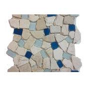 "12""x12"" Sea Glass Tile and Pebbles Atlantis Mosiac Blend, Set of 10"