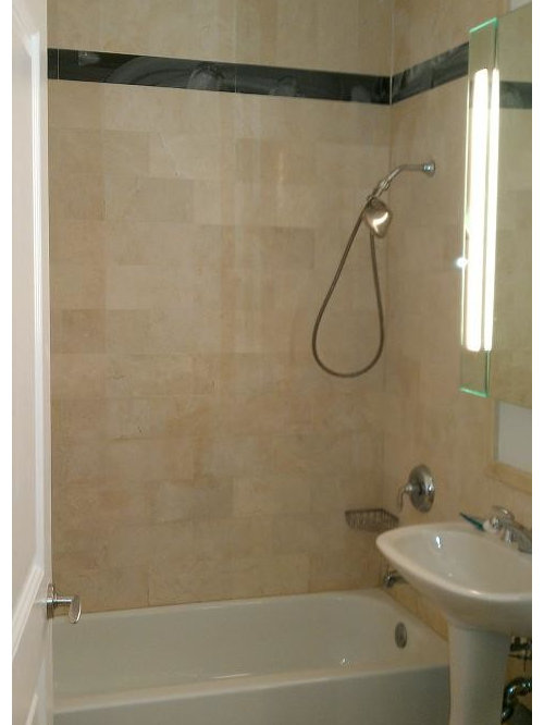 Example Of A Mid Sized Trendy Master Beige Tile And Stone Tile Marble Floor  Bathroom