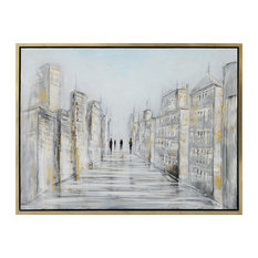 """District Framed Canvas Art, Hand Painted Cityscape Abstract, 1.5"""" Frame"""