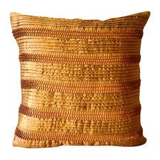 "Ribbon & Pintucks Gold Pillows Cover, Satin Pillow Covers 12""x12"", Gold Moments"