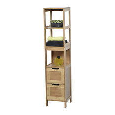 Freestanding Bath Wood Linen Tower Cabinet Shelves and Drawers Storage, Mahe