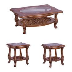 European Furniture - Saint Germain 3 Piece Luxury Occasional Table Set in Light by European Furniture