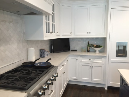 Kitchen Reveal: Navy Island And White Cabinets