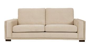 Saratoga 2-Seater Sofa, Beige, Bronze Tacks