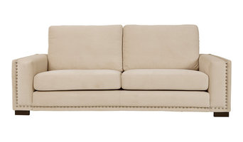Saratoga 2-Seater Sofa, Beige, Bronze Tacks