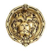 """Leo Lion Door Knocker 8-3/8"""", Highlighted Brass"""