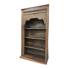 Mogul Interior - Consigned Reclaimed Hand-Carved Wood Antique  Architectural Bookcase - Bookcases