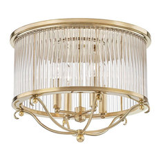 Glass No.1, 4-Light Semi-Flush With Clear Crystal Shade, Aged Brass