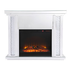Crystal Mirrored Mantle With Wood Log Insert Fireplace