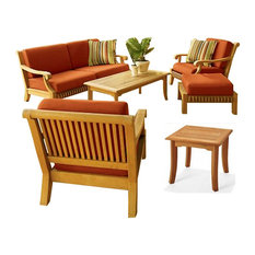 6-Piece Giva Outdoor Teak Sofa Set With Sunbrella Cushions Canvas Fern