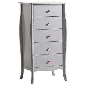Modern Narrow Chest of 5-Drawer, Grey Finished MDF With Rose Gold Handles