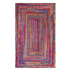 Casual Handmade Braided Cotton Area Rug, Multi, 3'x5'Rectangle