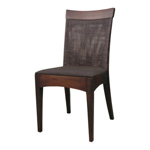 Jupe Side Chair Walnut With Brown Leather Set Of 2