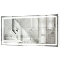 """Large LED Lighted Bathroom Mirror With Defogger and Dimmer, 66""""x36"""""""