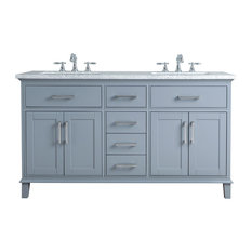 "Leigh 60"" Gray Double Sink Bathroom Vanity, Gray"