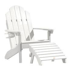 Westport Adirondack Chair and Folding Ottoman Set, White