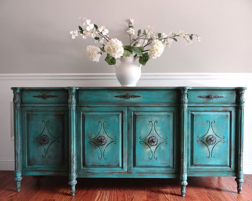 EIA Magazine Featured Antique Hand Painted Turquoise Buffet Sideboard Console Ca