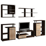 Furniture.Agency - Angel TV 5-Piece Set, Dark Oak, Natural Oak - The Angel 5-piece TV set is available in  multiple finishes. It offers a quaint TV stand with one shelf for your DVD player or gaming console. It supports smaller to mid-range television sets. The ride side cabinet offers doors for storage along with three smaller shelves. The top unit offers an intriguing geometric pattern. Two wall cabinets are installed above the TV stand and provide several shelves for adding decorative touches for the living space. The left side unit provides one door and two shelves and features LED lighting.
