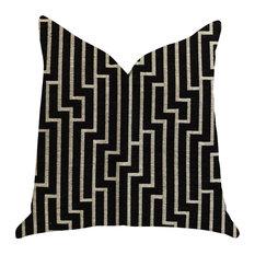 """Posh Lady Black and Beige Tones Luxury Throw Pillow, 20""""x20"""""""