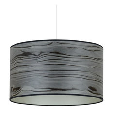Designer Grey and Champagne Wood Veneer Drum Lampshade, 60 Cm