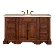 "58"" Traditional Single Sink Bathroom Vanity, Distressed Finish"