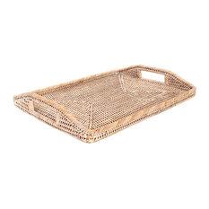 "Artifacts Rattan Rectangular Tray With High Handles, White Wash, 14""x10"""