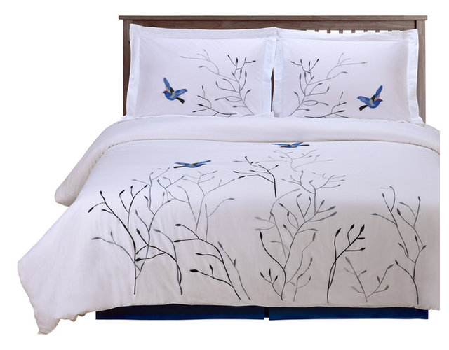 Impressions Swallow 3 Piece Embroidered 100% Cotton Duvet Cover Set, Blue,  Full