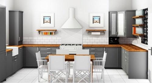 The Plan For Kitchen Is Oak Worktops Grey Cabinets Light Tiled Flooring Perhaps Lvt White Metro Tiles Coloured Walls
