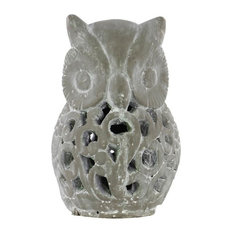 Cement Owl Figurine With Cutout Design Large Washed Concrete Finish Gray