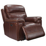 Oliver Pierce - Gordon Top Grain Leather Power Recliner - Beautifully upholstered in supple Italian leather, this welcoming power recliner boasts power adjustable headrests, pillow top arms, and convenient USB charging ports.