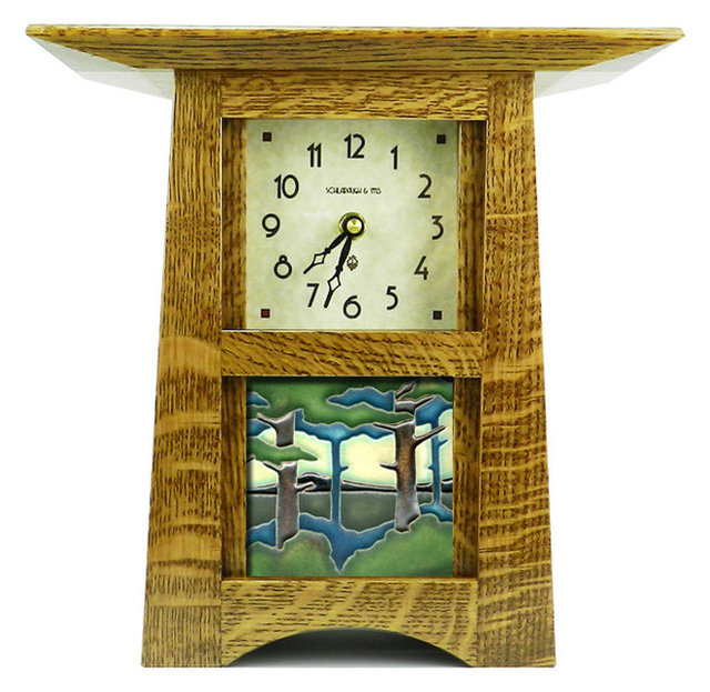 Schlabaugh & Sons Craftsman Style Tile Clock with 4\