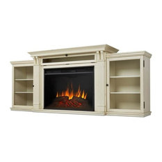 Tracey Grand Entertainment Center Electric Fireplace, Distressed White