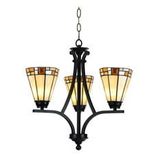 "19.5"" Ivory White and Black Elegant 3 Lights Hanging Fixture with Chain"