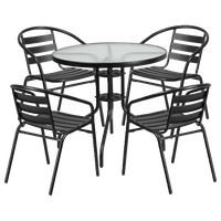 Outdoor Patio Round Table and 4 Chairs Set