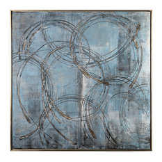 Modern Blue Silver Industrial Entwined Rings Painting, Wall Art Square Circles